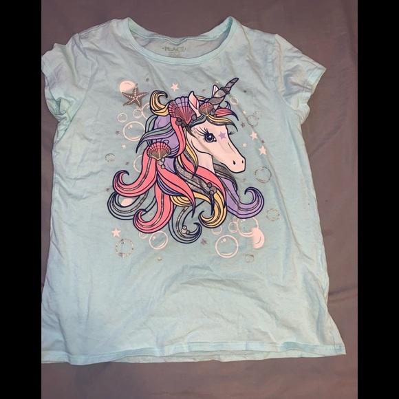 Teal unicorn graphic tee